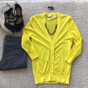 LOFT Bright Yellow V Neck Cardigan